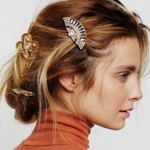 Free People brooch hair barrette set gold-tone new
